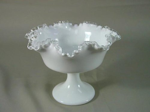 Fenton Silver Crest Milk Glass Compote Pedestal Serving Bowl Candy Dish (Milk Glass Pedestal Bowl compare prices)