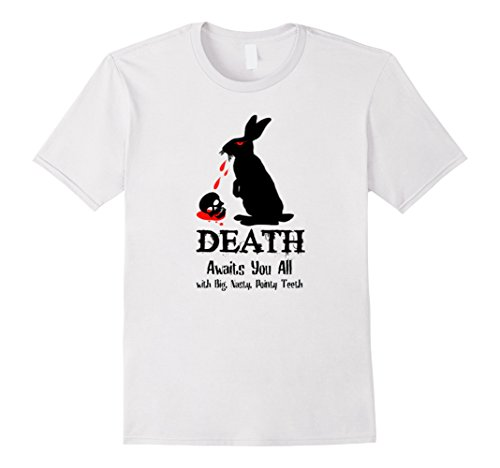 Men's Death Awaits You All With Big Pointy Teeth T Shirt Large White
