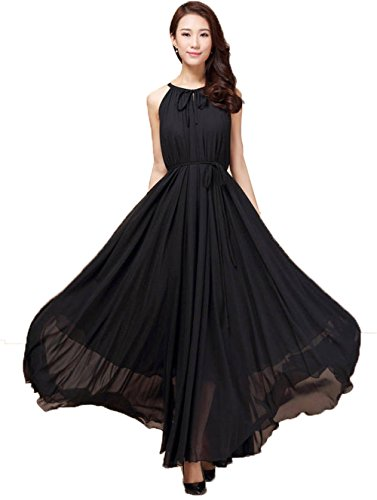 Summer Sleeveless Long Boho Chiffon Evening Vintage Cocktail Party Dress (Black)