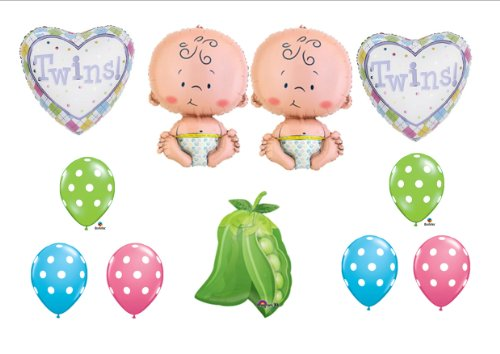 Two Peas In A Pod Twin Baby Shower Balloon Decorating Kit Supplies front-1076140