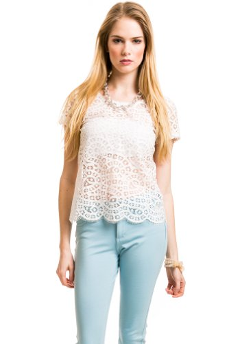 Full Lace Scalloped Top In Ivory