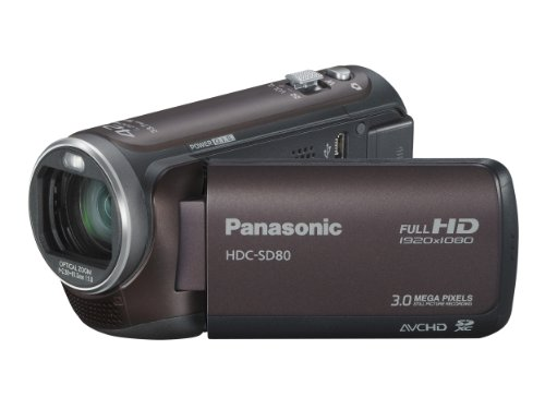 Panasonic SD80 Full HD Camcorder - Brown (SD Card Recording, x42 Intelligent Zoom, x37 Optical Zoom, Wide Angle Lens  &  iA + Face Recognition  &  New Hybrid OIS)
