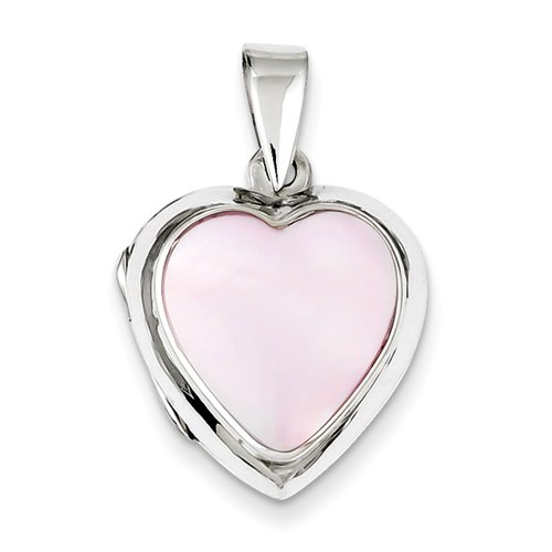 Sterling Silver Pink Mother Of Pearl Heart Locket