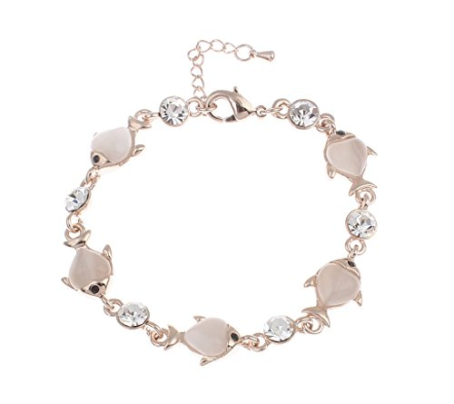 Fish Link Women Fashion Bracelet - Peach Resins White Crystals Rose-Gold plated alloy adjustable size (Rose Resin Bracelet compare prices)