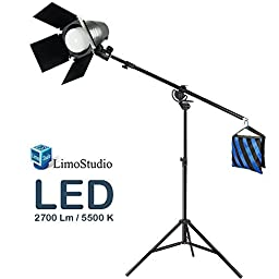 LimoStudio Continuous LED Day Light Bulb Barn Door Stand Kit with Tripod Light Stand & Boom Stand & Weight Sand Bag, AGG1841