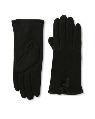 Sarajane Women's Pom Pom Gloves, Black As You See
