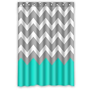 Chevron Pattern Turquoise Grey White Waterproof Bathroom Fabric S
