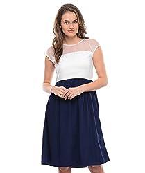 Leafe Women's Crepe Dress (HP23_Blue_M)