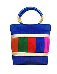Bhamini Raw Silk Handbag With Multicolour Pleated Work (Blue)