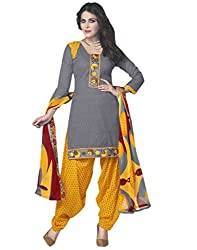 Shoppingover Women's Cotton Patiala Salwar Suit Dress Material(33853MJ_Grey_Free Size)