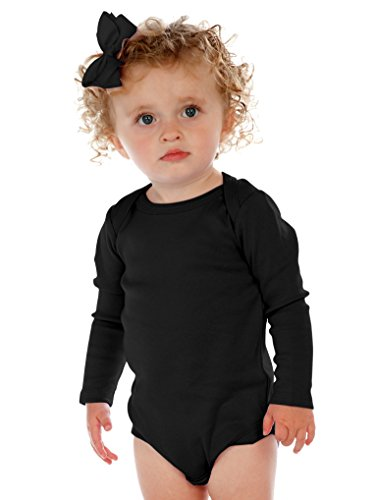 Kavio! Unisex Infants Lap Shoulder Long Sleeve Onesie Black 24M