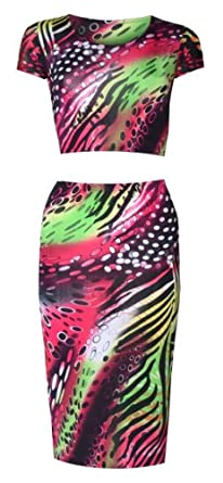 Womens Bright Neon Coloured Crop Top/pencil Midi Skirt Set (8/10 (uk 12/14), Lime green/red/black)