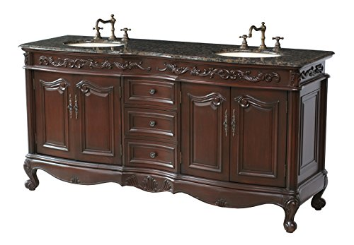Stufurhome-GM-3323-72-BB-72-Inch-Saturn-Double-Vanity-in-Dark-Cherry-Finish-with-Granite-Top-in-Baltic-Brown-with-White-Undermount-Sinks