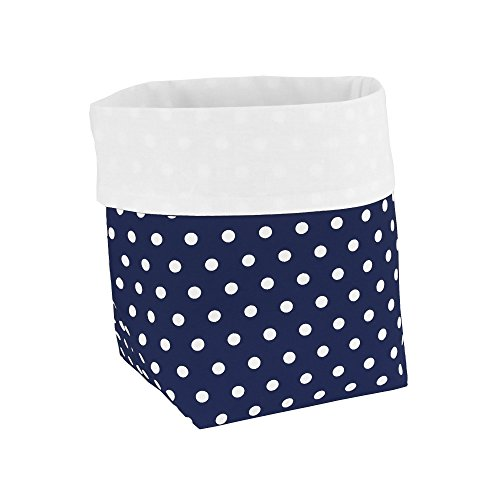 Sugarapple-Utensilo-Stoff-Aufbewahrungsbox-aus-Baumwolle-19-x-135-x-135-cm-Stoffbox-frs-Bad-als-Wickeltisch-Organizer-oder-Windelspender-Korb-Punkte-dunkelblau