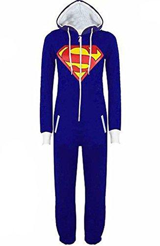 Damen Herren Overall Jumpsuit Sleepsuit Superman & Batman mit Kapuze Pyjamas Kostüm Cosplay Homeware Sleepsuit Schlafanzug Unisex Overalls