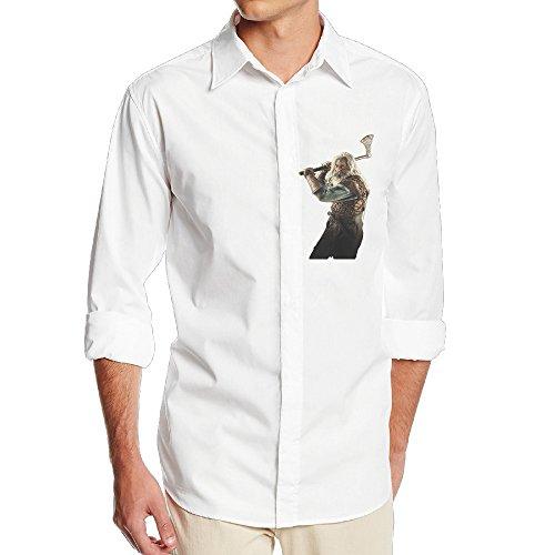 FUOALF Mens Vikings Season 4 Character Long Sleeve Button Down Collar Dress Shirt (White Collar Season 2 Blu Ray compare prices)