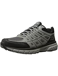 Skechers Men's Geo-Trek Grey And Black Leather Trekking And Hiking Footwear Shoes