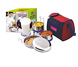 Aristo Stainless Steel Hot And Cold Lunch Box Set with Bag