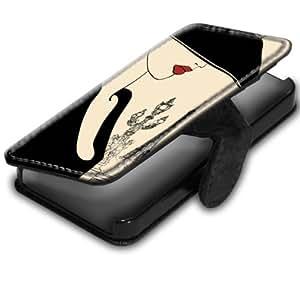 Vintage Paris 2, Eiffel Tour, Original Etui Personnalisé Coque Housse Coquille Case en Cuir Noir avec Dessin Coloré pour Apple iPhone 4 4S.