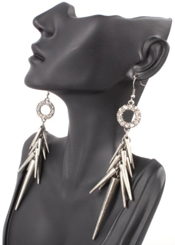 Black Iced Out Lady Gaga Poparazzi Circle Earrings with Spikes Light Weight Basketball Wives