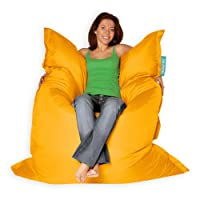 BAZAAR BAG ® - Giant Beanbag YELLOW - Indoor & Outdoor Bean Bag - MASSIVE 180x140cm - GREAT for Garden