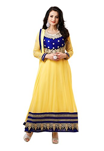 Fabdeal Indian Georgette Light Yellow Embroidered Salwar Kameez Dress Material
