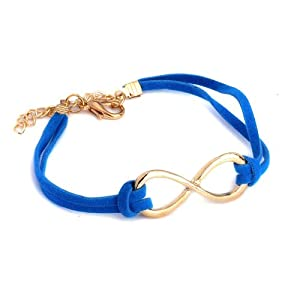 Infinity Goth Punk Rock Blue Leather Bracelet One Direction by Yiwu City Yinuo E-Commercial Business Co.,Ltd