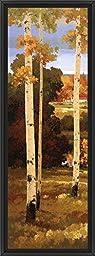 14in x 38in Morning Calm I by Henry Kim - Black Floater Framed Canvas w/ BRUSHSTROKES