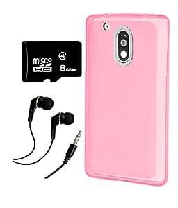 Moto G Plus, 4th Gen / Moto G, 4th Gen DEPARQPink Soft Matte Back Cover case + 8 GB CLASS 10 MICRO SD MEMMORY CARD + EARPHONE COMBO