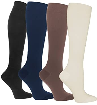 Compression Socks | Womens Compression Stockings Assorted 4 Pack, shoe sizes 4-10-(Sugar Free Sox)