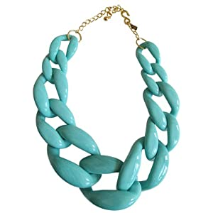 Kenneth Jay Lane Turquoise Colored Resin Graduated Link Necklace