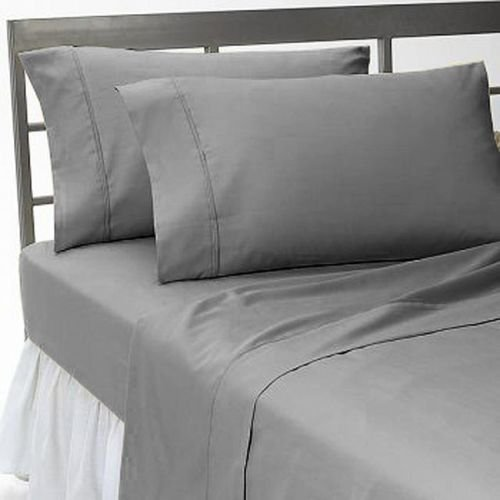 "800 Tc Solid 1Pc Fitted Sheet + 2 Pillow Cases Egyptian Blue Color California King Size Fits Mattress Upto 26"" Deep front-849157"