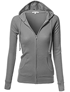 Xpril Women's Basic Lightweight Zip Thermal Hooded Jacket
