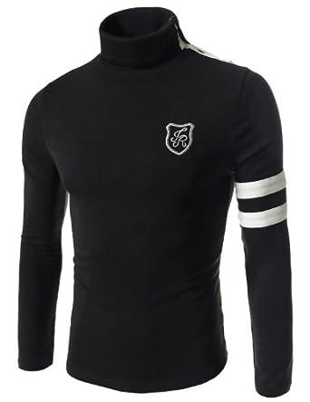 TheLees Mens casual button turtle neck slim tshirts Black Medium(US Small)