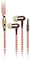 Pearl Necklace Earphone Handsfree with Play controller and mic ZT13495 Cream Color