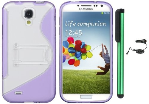 $$  Samsung Galaxy S4 i9500 Combination - S-Shape TPU Cover Case with Kick-Stand Case / Car Charger / 1 of New Assorted Color Metal Stylus Touch Screen Pen (Purple / Clear)