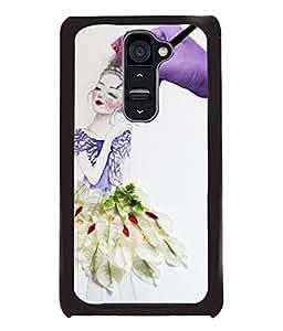 Fuson Paint Girl Back Case Cover for LG G2 - D4060