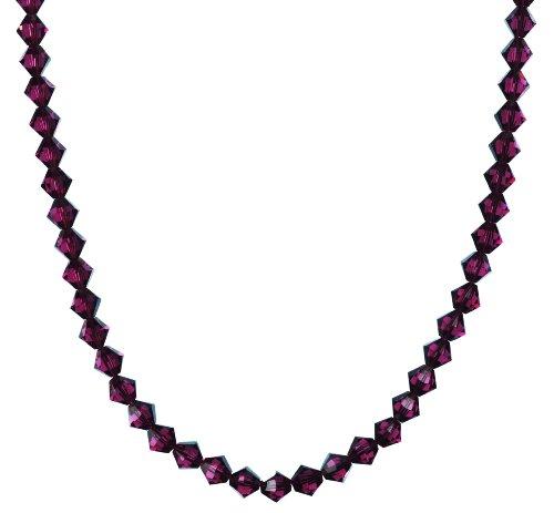 Sterling Silver Swarovski Elements Amethyst Colored 6mm Necklace, 24
