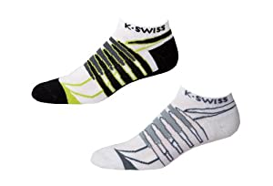 K-Swiss 2.0 iMPACT Blade Jetster Socks (2-Pack) - gull grey/bright green, large
