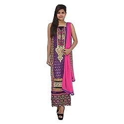 Kashish Creations Women Resham Purple & Black Semi Stitched Salwar Suit