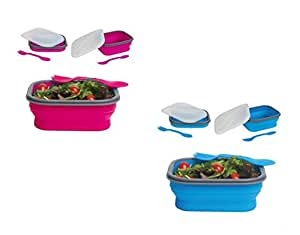 DCI Small Collapsible Lunch Box, Assorted Blue and Purple Colors