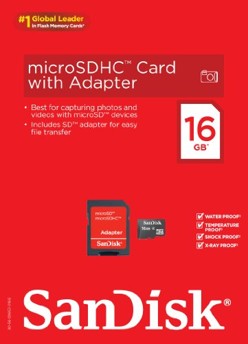 SanDisk 16GB Mobile MicroSDHC Class 4 Flash Memory Card With Adapter- SDSDQM-016G-B35A