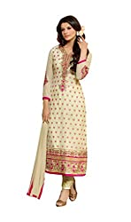Mandani Fashion women's Banarassi Jequarde Party Wear Unstitched dress material(SF225_Beige color)