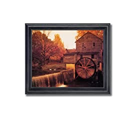 Old Wood Mill Nature Landscape Wall Picture Framed Art Print