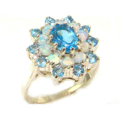Fabulous Solid White Gold Natural Blue Topaz & Fiery Opal 3 Tier Large Cluster Ring - Size 8.75 - Finger Sizes 5 to 12 Available