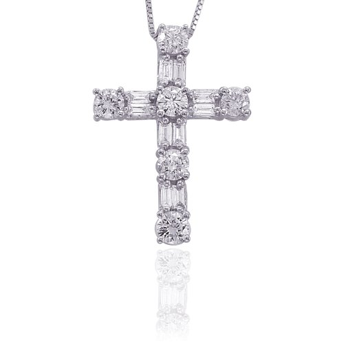 Sterling Silver 1 ct. Round and Baguette Cut Diamond Cross Pendant with Chain