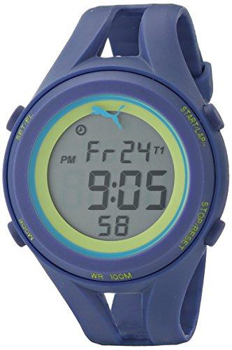 Puma Unisex Pu911171004 Air Iii Navy Blue Digital Display Quartz Blue Watch