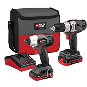 Factory-Reconditioned Porter-Cable PCCK410L2R 18V Cordless Lithium-Ion 1/2 in. Drill Driver and Impact Driver Combo Kit
