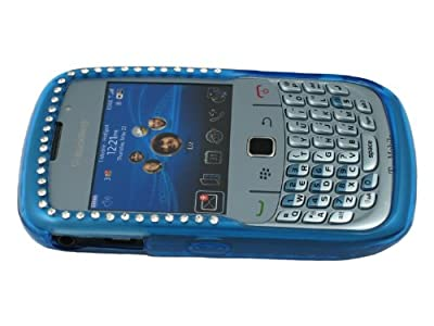 Light Blue Bling Rhinestone TPU Ice Gel Skin case Cover for Blackberry Curve 2 8520 8530 9300 9330 by RM Trading