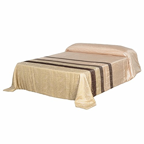 Lola Derek - Colcha 240x260 oriental beige de poliéster para dormitorio Sol Naciente